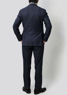【国内正規品】S/S新作LARDINI(ラルディーニ)/JP0823AQ/EXCLUSIVE/ウールストライプソラーロワンプリーツスーツ【ネイビー】【送料無料】