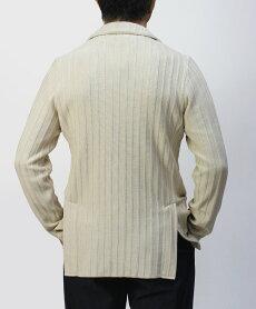 ラルディーニ/LARDINI/ニットジャケット/ストライプ編みコットン/JPLTM56-EI54005【オフホワイト】
