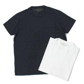オリジナル ヴィンテージ スタイル / ORIGINAL VINTAGE STYLE / Tシャツ / コットン クルーネック ポケットT / ガーメントダイ ( 製品染め ) / FILLER【ホワイト/ネイビー】【SALE 30】