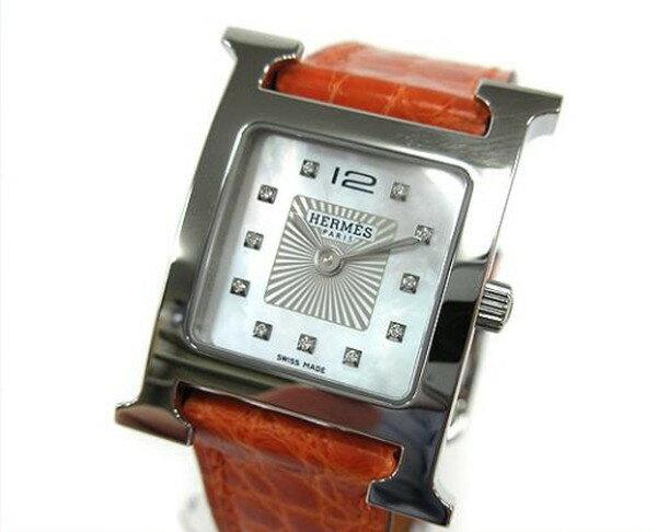 HERMES エルメス Hウォッチ PM 腕時計 オレンジ アリゲーター ホワイトシェル HH1.210 X刻印 【新品】【あす楽対応】
