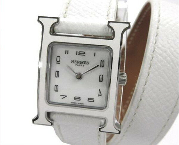 HERMES エルメス Hウォッチ 腕時計 ホワイト シルバー エプソン 白文字盤 HH1.220 A刻印【新品】【あす楽対応】