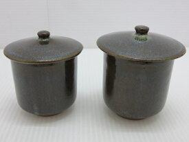 【中古未使用品】 天草 水の平焼 蓋つき夫婦湯呑 ペアカップ 大小 〇YR-10788〇