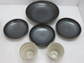 【中古未使用品】 丸尾焼 大皿×1 中皿×3 カップ×2 食卓セット 〇YR-10835〇