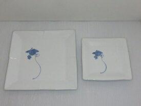 【中古未使用品】 天草陶磁器 高浜焼 寿芳窯 7寸角平皿・5寸角平皿 葡萄 2枚セット 〇YR-11788〇