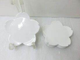 【未使用展示品】 天草 高浜焼 花びら型 小皿 5枚揃 ○YR-13144○