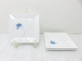 【未使用展示品】 天草 高浜焼 角銘々皿 5枚揃 ○YR-13502○