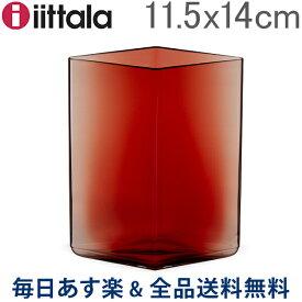 【お盆もあす楽】[全品送料無料] イッタラ Iittala ルーツ ベース Ruutu Vase 花瓶 11.5×14cm 1015596 クランベリー Cranberry インテリア ガラス 北欧 フィンランド シンプル おしゃれ あす楽