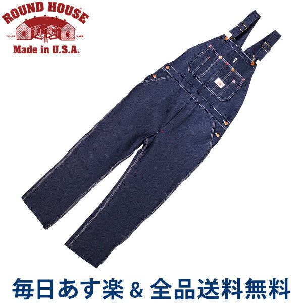 [全品送料無料]正規販売店 ラウンドハウス Round House #966 ブルー デニム オーバーオール クラシックブルー メンズ Men Blue Denim Bib Overalls Classic Blue ビブ