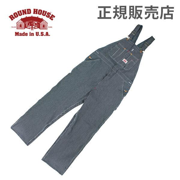 【全品3%OFFクーポン】[全品送料無料]正規販売店 ラウンドハウス Round House #45 デニム オーバーオール ヒッコリー ストライプ メンズ Men Hickory Stripe Bib Overalls ビブ