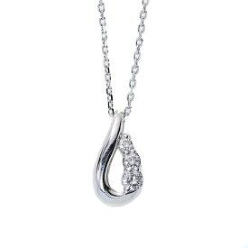 シンプルなしずく ダイヤモンド 0.10カラット ネックレス 肉厚 18金ホワイトゴールド K18WG /白・透明(ホワイト)/【中古】/届5/レンタル可能商品 ギフト プレゼント ギフト