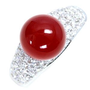 血赤色丸珠 サンゴ 珊瑚 リング プラチナ PT900 ダイヤモンドパヴェ肉厚アーム /赤(レッド)/アウトレット・新品/届10/送料無料 ギフト/1点もの