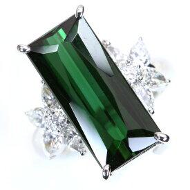 トルマリン 7.360カラット リング/指輪 プラチナ PT900 大きくスレンダー ダイヤモンドも迫力満点 鑑別書付 /緑(グリーン)/アウトレット・新品/届10/ギフト/1点もの