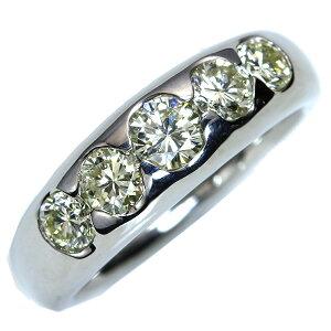 大粒VSレベル ダイヤモンド 1.0カラット リング/指輪 プラチナ PT900 一文字・肉厚・引っかかりなし /白・透明(ホワイト)/アウトレット・新品/届10/1点もの