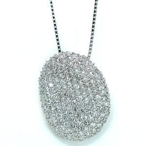 ダイヤモンド 2.0カラット ネックレス 18金ホワイトゴールド K18WG びっしりダイヤパヴェ ボリュームたっぷり /白・透明(ホワイト)/アウトレット・新品/届10/1点もの