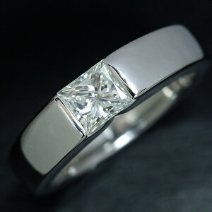 ダイヤモンド リング/指輪 0.55カラット プラチナ900 PT900 角ダイア ソリティア タンク 肉厚 /白・透明(ホワイト)/アウトレット・新品/届10/1点もの