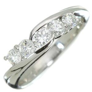 ダイヤモンド リング/指輪 0.54カラット プラチナ900 PT900 大き目ダイヤ5石 肉厚 /白・透明(ホワイト)/アウトレット・新品/届10/1点もの