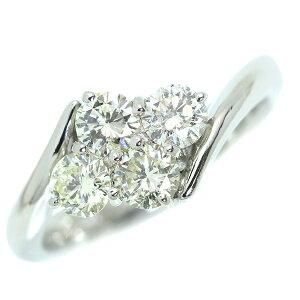 ダイヤモンド リング/指輪 1.009カラット プラチナ900 PT900 大粒4ストーン 肉厚 ほんのりイエローカラー /白・透明(ホワイト)/アウトレット・新品/届10/1点もの