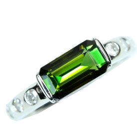 トルマリン リング/指輪 プラチナ900 PT900 横向きのスマートデザイン /緑(グリーン)/アウトレット・新品/届10/1点もの