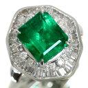 エメラルド リング/指輪 3.760カラット プラチナ900 PT900 大粒 豪華取り巻き 一生ものに 鑑別書付 /緑(グリーン)/【…
