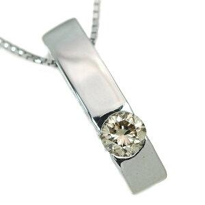 ダイヤモンド ネックレス 0.30カラット 18金ホワイトゴールド K18WG 肉厚縦ライン 一粒ダイヤ /白・透明(ホワイト)/アウトレット・新品/届10/ラックジュエル luckjewel/1点もの