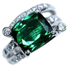 グリーントルマリン リング/指輪 5.490カラット プラチナ900 PT900 青を感じる深く上質のグリーン 立体的 鑑別書付/白・透明(ホワイト)/アウトレット・新品/届10/ラックジュエル luckjewel/1点もの