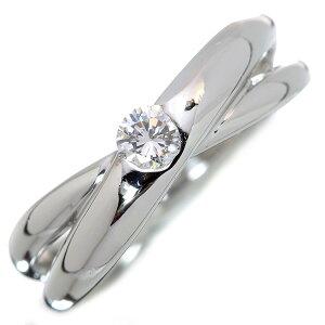 ダイヤモンド リング/指輪 0.170カラット プラチナ900 PT900 肉厚 くりぬきなしの肉厚 クロスデザイン /白・透明(ホワイト)/アウトレット・新品/届10/ラックジュエル luckjewel/1点もの