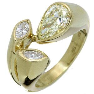 イエロー ダイヤモンド リング/指輪 1.145カラット 18金イエローゴールド K18 1ct大粒ペアシェイプ マーキスダイヤも君臨 肉厚 /黄(イエロー)/アウトレット・新品/届10/ラックジュエル luckjewel/1点
