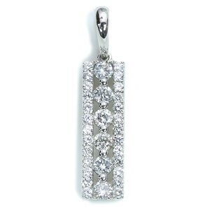 ダイヤモンド ペンダントトップ 1.0カラット プラチナ900 PT900 縦ライン 肉厚 1カラット 上質ダイヤ /白・透明(ホワイト)/アウトレット・新品/届10/ラックジュエル luckjewel/1点もの