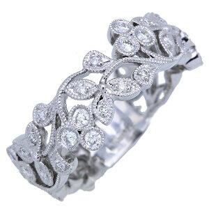 ダイヤモンド リング/指輪 0.320カラット 18金ホワイトゴールド K18WG ミルグレーディング 肉厚 幅広 /白・透明(ホワイト)/アウトレット・新品/届10/ラックジュエル luckjewel/1点もの