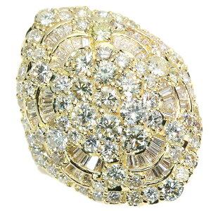 ダイヤモンド リング/指輪 4.450カラット 18金イエローゴールド K18 豪華 たっぷりダイヤ 眩しい煌めき 肉厚 /白・透明(ホワイト)/アウトレット・新品/届10/ラックジュエル luckjewel/1点もの