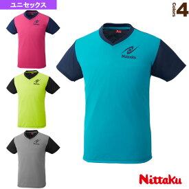 VネックTシャツ-4/ユニセックス(NX-2090)《ニッタク 卓球 ウェア(メンズ/ユニ)》