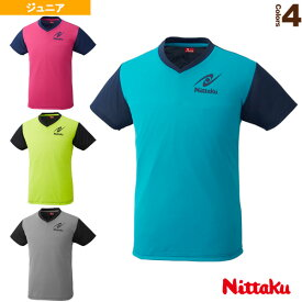 VネックTシャツ-4/ジュニア(NX-2090)《ニッタク 卓球 ウェア(メンズ/ユニ)》