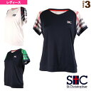チェック Vネック ゲームTシャツ/レディース(STC-AIW6175)《セントクリストファー テニス・バドミントン ウェア(…