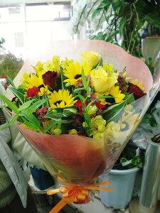 店長おすすめ!ミニブーケ風花束!!【送料無料】『黄色系のお花で大切なあの人に思いを贈ろう!!』