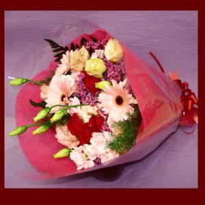 【誕生日】ミニブーケ風花束!!【送料無料】『ピンク×レッド系のお花で大切なあの人に思いを贈ろう!!』