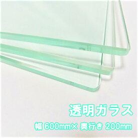 ガラス棚板用 透明強化ガラス W600×H200×T8mm