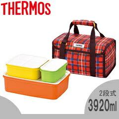サーモス/THERMOS ファミリーフレッシュランチボックス DJF-4003 レッド (お弁当箱・2段式・保冷バッグ付き・食洗機対応)