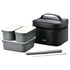 サーモス/THERMOS フレッシュランチボックス DJF-1800 ブラック (お弁当箱・2段式・保冷バッグ付き・食洗機対応)
