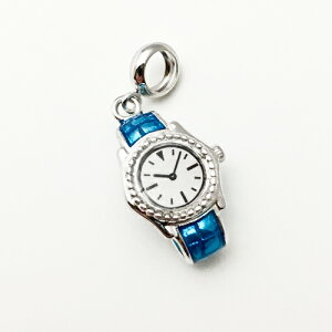【アクセサリーパーツ】※アレルギー対応※《シルバー925製高級チャーム》腕時計 モチーフ ブルー 約H17*W11×D7.5mm ペンダントトップ アレルギー