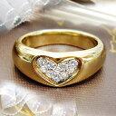 K18ゴールド 0.15ctダイヤモンドハートパヴェリング『Heartin』0.15カラット[SIクラス/H〜Gカラー/GOOD〜VERYGOOD]…