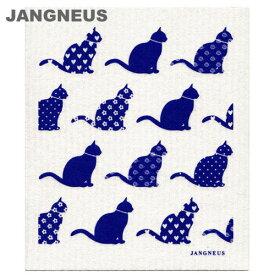 北欧スポンジワイプ ヤングネウス キャット ブルー JANGNEUS(布巾ふきん 結婚祝い出産祝い内祝いプレゼントギフト)引越し 挨拶 粗品洗剤との相性抜群ディッシュクロスdishclothキャッツねこ猫ぬこ