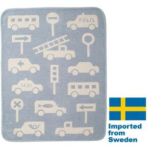 【送料無料】正規輸入品スウェーデン KLIPPAN/クリッパン シュニールコットン ミニブランケット トラフィックジャム ブルー2020
