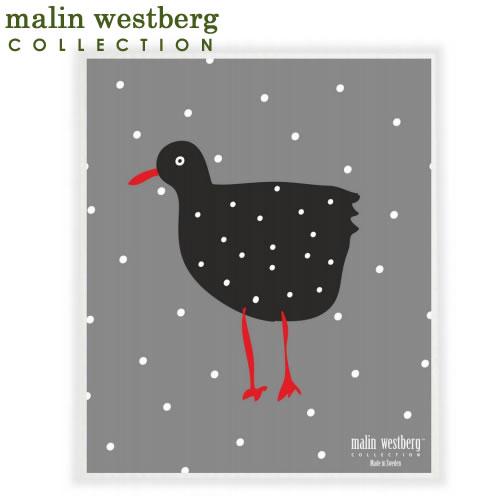 【1731円以上でメール便送料無料】マリンウェストバーグ 北欧スポンジワイプ 雪の鳥 malin westberg(布巾ふきん 結婚祝い出産祝い内祝いプレゼントギフト)引越し 挨拶 粗品洗剤との相性抜群ディッシュクロスdishcloth