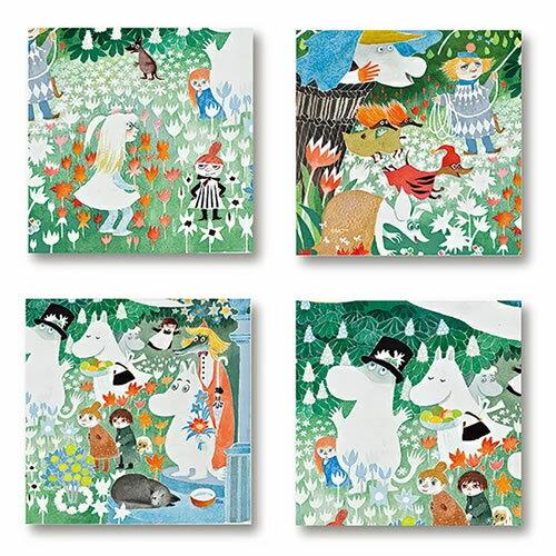 【メール便で送料無料】Moomin Wooden Coaster ムーミン木製コースター4枚セット (デンジャラスジャーニー /10×10cm)