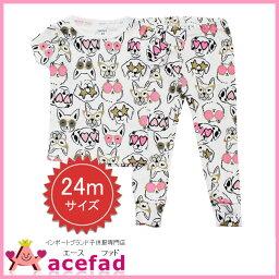 卡特Carters短袖睡衣房服裝上下安排童裝女人的孩子DOG花紋24m 90cm