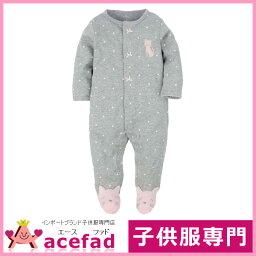 卡特Carters嬰兒裝覆蓋物全部步態長袖子女人的孩子灰色水滴&貓3m 6m 9m 12m