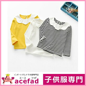 90 100 110 120 130cm with the child 2 color collar of the children's clothes long sleeves cut-and-sew Ron T-shirt kids woman