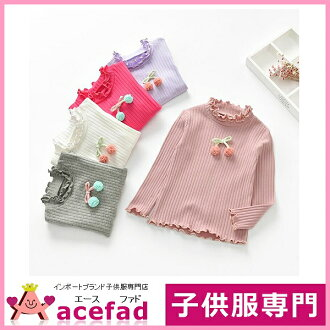 90 100 110 120 130cm with the child 4 color ribbon of the children's clothes long sleeves turtleneck cut-and-sew kids woman