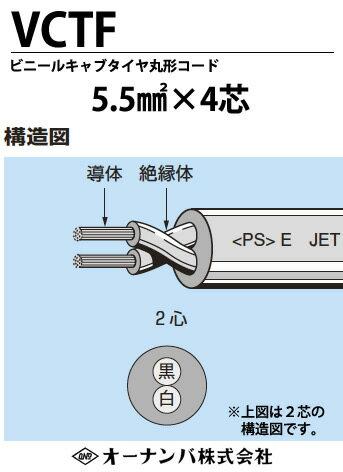 【オーナンバ】ビニルキャブタイヤ丸形コード(VCTFケーブル)VCTF 5.5㎟×4芯 切り売り