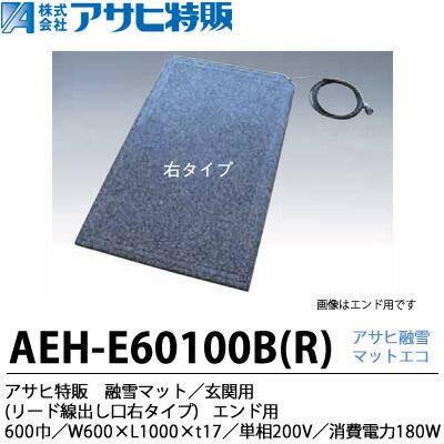 【アサヒ特販】アサヒ融雪マット エコ玄関用(リード線出し口右タイプ)600巾W600×L1,000×t17単相200 V(消費電力180W)AEH-E60100BR